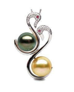 Pendentif Cygnes perles des mers du sud, Or blanc