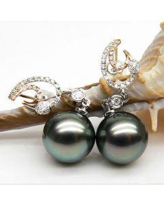 Orecchini Skyros - Perle di Tahiti Nere, Diamanti, Oro Bianco/Giallo