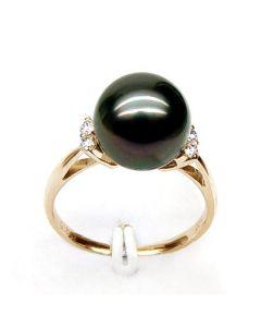 Anello Melo - Oro Giallo, Diamanti e Perla di Tahiti
