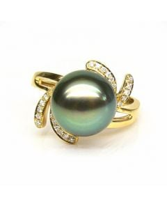 Anello Fiore - Oro Giallo, Diamanti e Perla di Tahiti