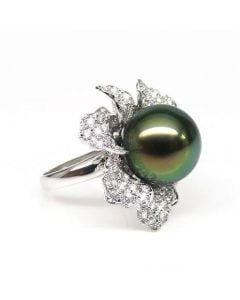 Anello Petali - Oro Bianco, Diamanti e Perla di Tahiti