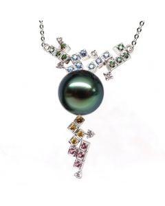 Pendentif avec chaine - Perle de Tahiti - Or blanc, diamants, topazes