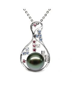 Pendentif constellation - Perle de Tahiti - Or blanc, topaze, diamants