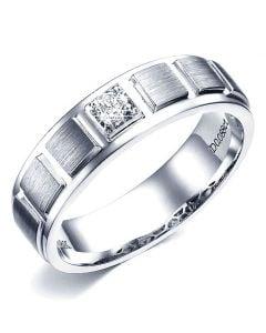 Bague en or blanc pour Homme. Finition polie et brossée. Diamant | Elbow