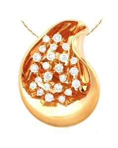 Pendentif or jaune diamants griffes 1.10cts - inspiration joaillière