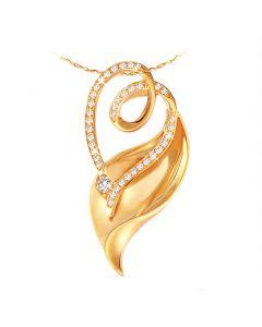 Pendentif métal or jaune et diamants - Allure du végétal sensuel