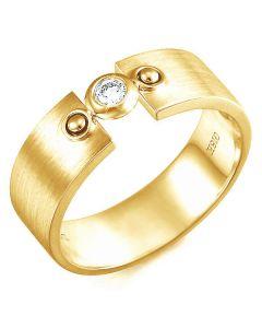 Bague anneau chevalière homme - Anneau or jaune serti clos diamant