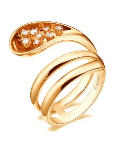 Bague Femme anneau enlacé - Bague en or jaune - 9 Diamants 0.129ct