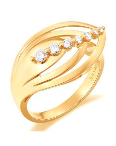 Bague fiançaille - Bague en or jaune 18 carats - Diamants 0.204ct