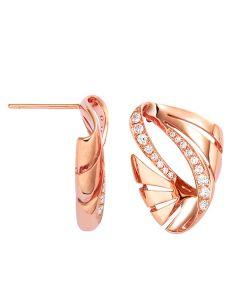 Crochets d'oreilles or rose - Boucles diamants motifs écailles