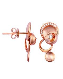 Boucles d'oreilles or - Pendants métal or rose et diamants - Courbes