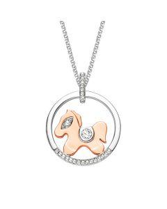Pendentif diamants 2 ors 18cts - Cheval sellé, rafiné et ludique