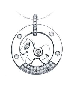 Pendentif cheval à bascule - Or blanc, Diamants 0,29ct
