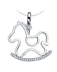 Pendentif or blanc diamants du cheval à bascule - Création espiègle