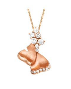 Pendentif inspiration nature - Or rose, diamants sertis grains 0.32ct