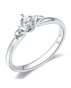Solitaire Diamant Griffe Weston - Bague Fiancaille en Or Blanc | Gemperles