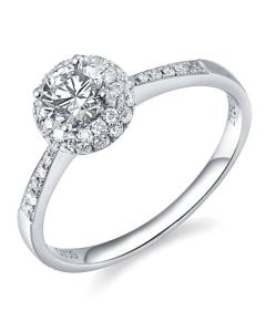 Solitaire bague de fiancaille - Or blanc 18cts - 51 Diamants 0.58ct | Gemperles