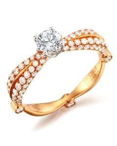 Solitaire de Prestige - Bague 2 Ors - Pavage 91 Diamants 1.014cts | Gemperles