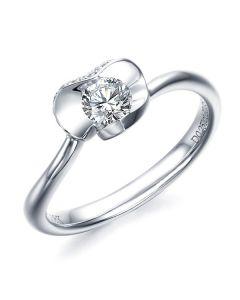 Bague Solitaire Dalida -  Or Blanc Diamants - Fleur Stylisée Pétales Coeur | Gemperles