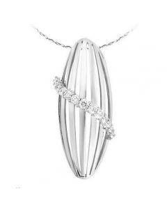 Pendentif barette or blanc 18cts - Courbe diamants gracieux