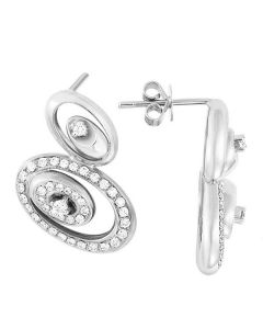 Boucle d oreille or blanc LOVE - Pendants modernes en diamants