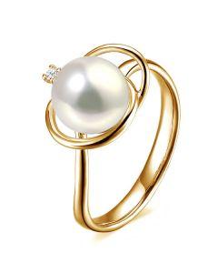 Anello oro giallo, diamante - Perla acqua dolce bianca - 9/10mm