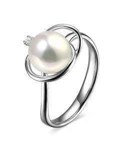 Anello oro bianco, diamante - Perla acqua dolce bianca - 9/10mm