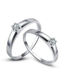 Alliances classique Couple. Solitaires Or blanc. Diamants