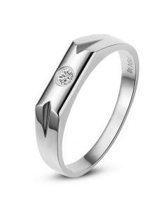 Alliance Homme. Or blanc. Diamant 0.045ct