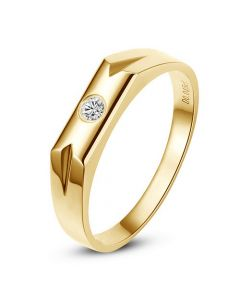 Bague alliance Homme. Solitaire moderne en or jaune. Diamant