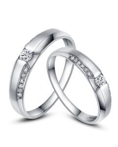 Achat alliances mariage - Alliances Solitaires Duo - Or blanc, diamants