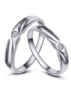 Fedi Nuziali Judy & Merlin - Platino e Diamante