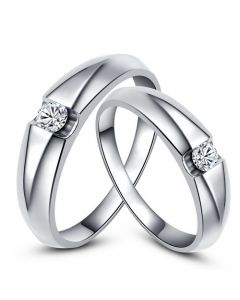 Alliances solitaires platine - Bagues alliances diamants - Couple