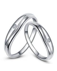 Modèles alliances mariage - Alliances duo classiques - Platine, diamants