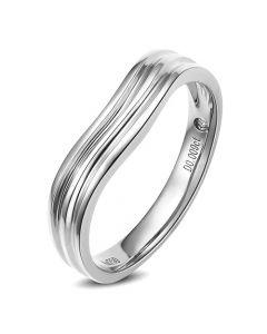 Alliance ondulée motifs striés - Or blanc 18cts - Diamant - Femme | Mystérieuse