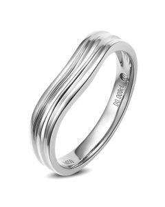 Alliance ondulée motifs striés - Platine - Diamant - Femme | Mystérieuse platine