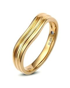 Alliance ondulée motifs striés - Or jaune 18cts - Diamant - Femme | Désir