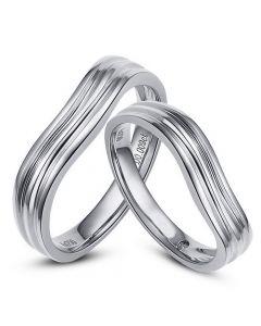 Alliances ondulées motifs striés - Or blanc 18cts - Diamants - Duo