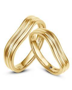 Alliances ondulées motifs striés - Or jaune 18cts - Diamants - Duo