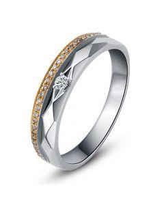 Alliance Homme 2 ors - Or blanc, rose - Diamants - Anneau à facettes