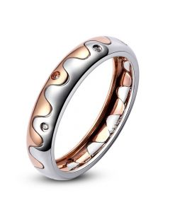 Alliance 2 ors - Alliance Femme or blanc et rose - Diamants