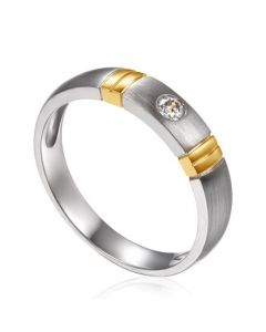 Alliance Femme en diamant, platine et or jaune