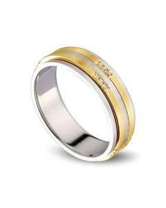 Alliance 2 ors Femme - Or blanc poli et jaune brossé - Diamants