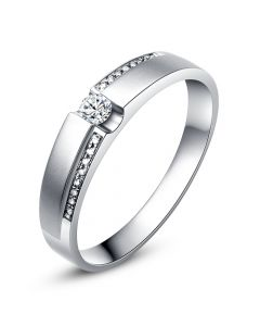 Alliance solitaire or blanc 750/1000 - Bague Homme diamants | Blum