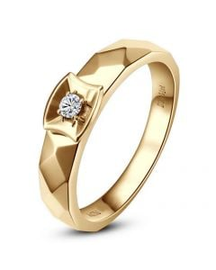 Alliance bague facettée - Alliance diamant Femme - Or jaune | Correspondance