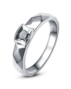 Alliance bague facettée - Alliance diamant Homme - Platine | Jules
