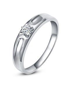 Alliance fleur d'or blanc et diamant - Alliance Homme | Gable
