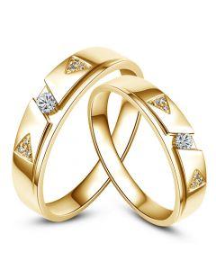 Fedi Nuziali Eugénie & Timothée - Oro Giallo e Diamanti
