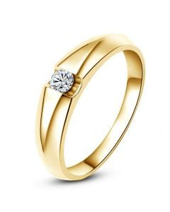 Alliance solitaire or jaune - Bague alliance diamant pour Femme | Destiny