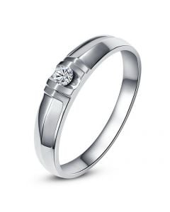 Alliance solitaire sophistiqué. Alliance femme. Or blanc, Diamant | Constance